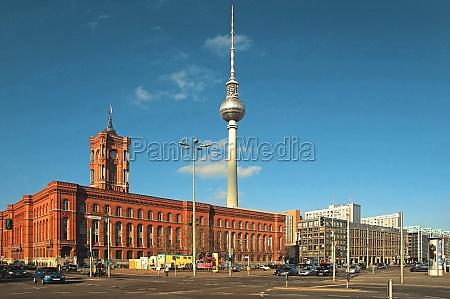 berlin deutschland rotes rathaus fernsehturm wahrzeichen