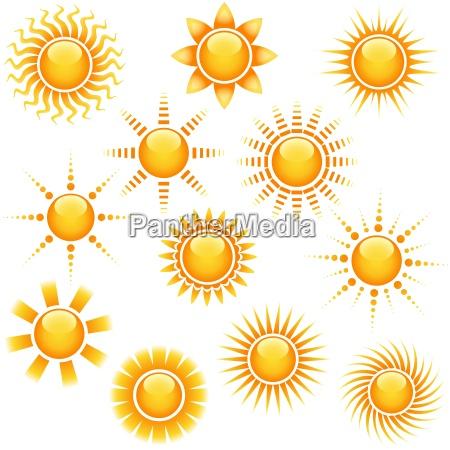 sun icon collection streszczenie ilustracji
