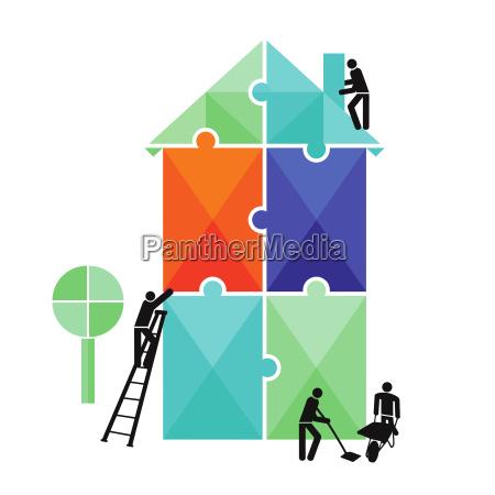 uslugi budowlane puzzle na bialym