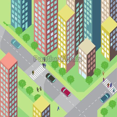 ulica z domami i samochodami