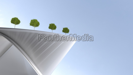nowoczesny budynek z ogrodem dachowymrenderowania 3d